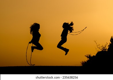 silhouette jump rope
