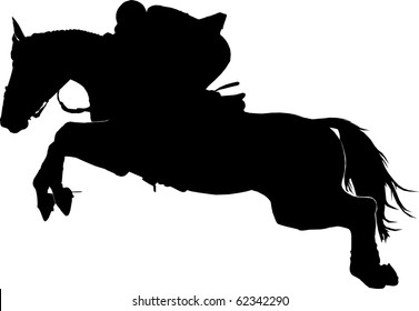 Silhouette  of a jumping horse