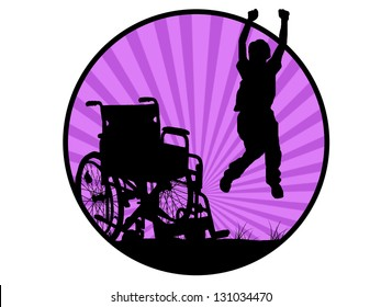 silhouette of jumping invalid man