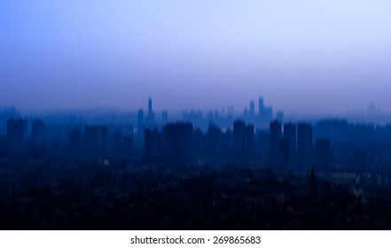 silhouette of korea cityscape with blur motion.