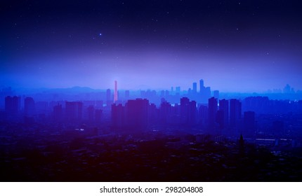 silhouette of korea cityscape and star with soft focus.