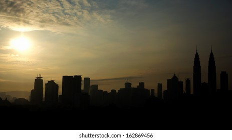 Silhouette of Kuala Lumpur city in the morning