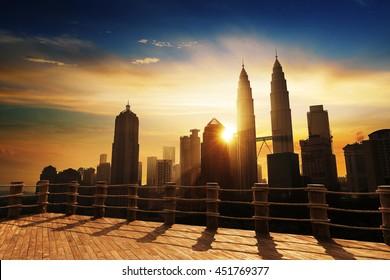 Silhouette of Kuala Lumpur skyline during sunrise at Malaysia, Asia