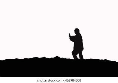 Silhouette a kung fu for meditation on mountain and white isolated.