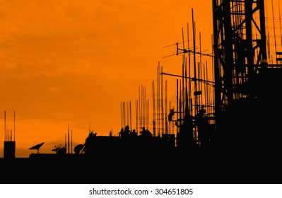 silhouette labor working construct background