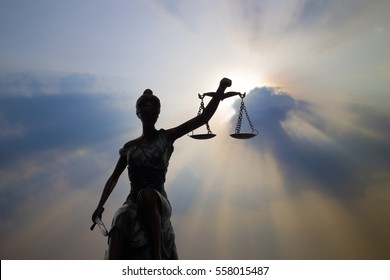 Silhouette Lady of Justice and light of God