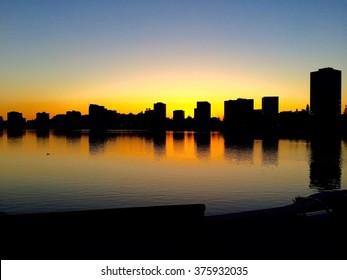 Silhouette of Lake Merritt in Oakland