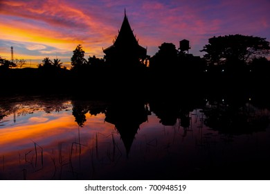 silhouette of lake and sky with beautiful sunset background, Mahasarakham, Thailand