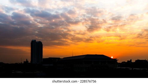 silhouette landscape with sunset and cloudy sky background