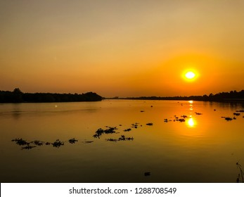 silhouette landscape sunset on bangphakong river in thailand