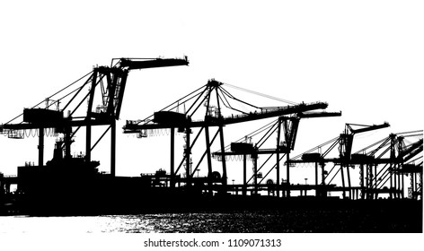 Silhouette of large cranes used for loading containers on to ships