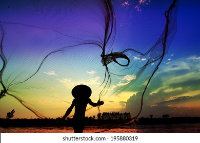 silhouette life along the Mekong River.