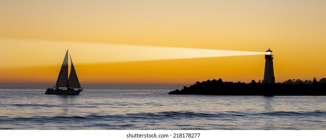 Silhouette Light house at sunset, Santa Cruz, California, USA
