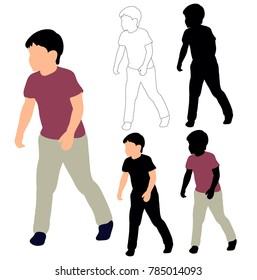 silhouette little boy running, sketch of child, flat style