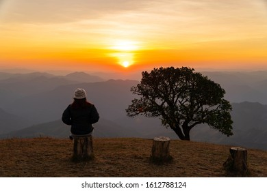 Silhouette lonely woman and alone tree in the morning sunrise on Doi Pui Co amazing viewpoint at Mae Hong Son province unseen Thailand.