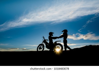 Silhouette of a lover And motorcycle