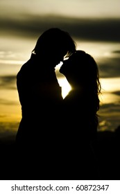 Silhouette of loving couple