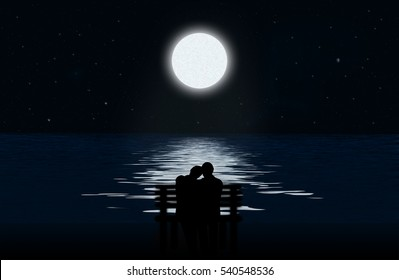 Silhouette of a loving couple on a bench on the background of the moon and lunar path on water surface