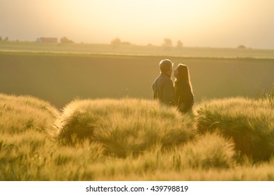 Silhouette Loving Couple Sunrise Wheat Field Stock Photo Edit Now