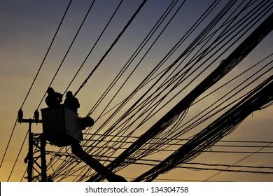 silhouette of maintenance service