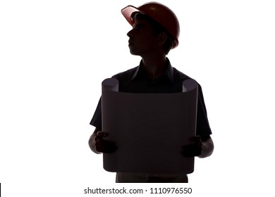 silhouette of male construction engineer with building project, man face profile helmet inspecting working process, concept of construction and engineering on white isolated background