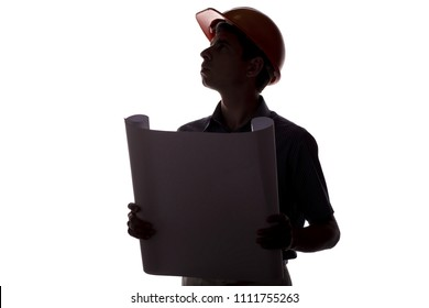 silhouette of male construction engineer with building project, caucasian man in formal suit and helmet inspecting working process, concept of construction and engineering on white isolated background