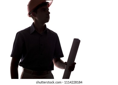 silhouette of male construction engineer with scroll building project, caucasian man in formal suit and helmet gives instructions, concept of construction and engineering on white isolated background