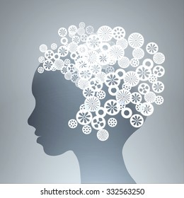Silhouette of male head with gears in brain