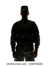 Silhouette of male soldier on white background