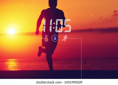 Silhouette of male sportsman running against golden sundown sky. Man working out outdoors in scenery nature