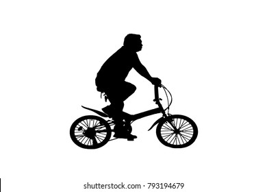 Silhouette man and bike relaxing on white  background