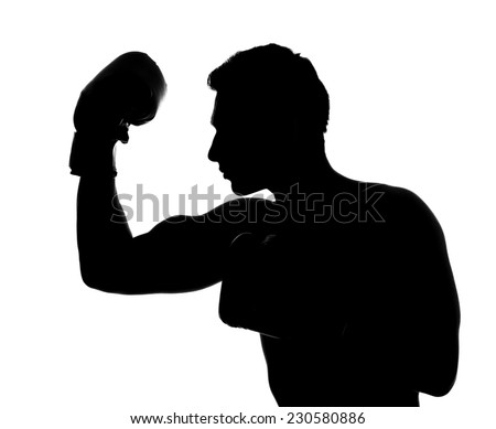 silhouette man boxing gloves posing isolated stock photo edit now