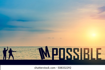 Silhouette man or businessman eliminate, improve, change impossible to possible text on the bridge in front of beautiful sunset and ocean and boat to success and motivate to challenge the team