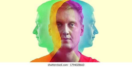 Silhouette eines Mannes in Farbe RGB.  Konzept zum Thema Psychologie, Wissenschaft, Symbol der Komplexität der Persönlichkeit einer Person. Eine kreative Idee in den Farben von RGB.
