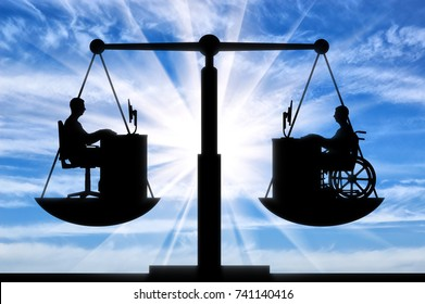 Silhouette of a man disabled in a wheelchair and a healthy man sitting at the table, they are equal on the scales of justice. The concept of equal employment opportunity persons with disabilities
