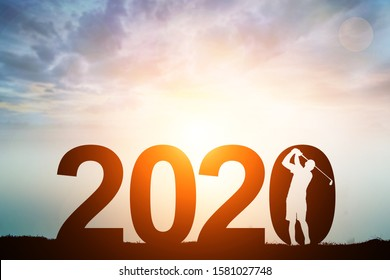 silhouette of man dive golf in 2020 text for happy new year concept