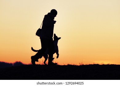 Silhouette of a man and dog Malinois on a sunset background.
