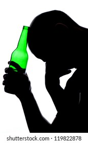 Silhouette of man drinking alcohol isolated on white background