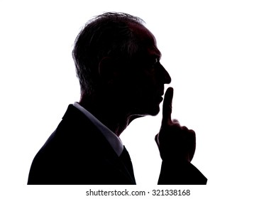 Silhouette of a man expressing the silence