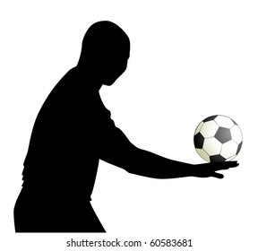 silhouette of man with a Football