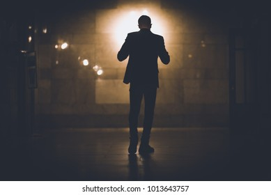silhouette of man in grand central terminal in New York city