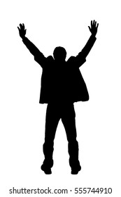 Silhouette of man with hands raised