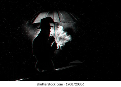 silhouette of a man in a hat under an umbrella Smoking a cigarette at night in the rain in the city. Black and white with 3D glitch virtual reality effect