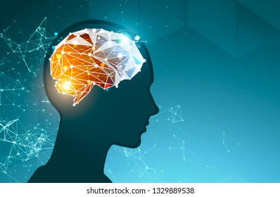 Silhouette of man head with polygonal brain inside it over blue background. Concept of artificial intelligence. 3d rendering mock up toned image