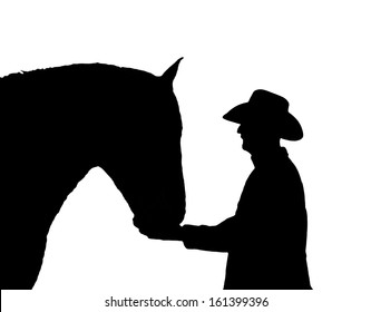 Silhouette of a man and his horse in black and white