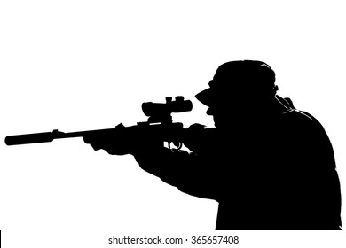 Silhouette of a man holding rifle against white background