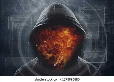 Silhouette of man in the hood, dark mysterious man hoodie, murderer, hacker, anonymus on the black background with free space. Elements of this image furnished by NASA