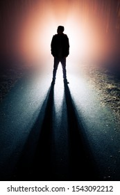 Silhouette of a man in the mist