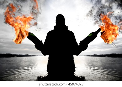 Silhouette man with a molotov cocktail