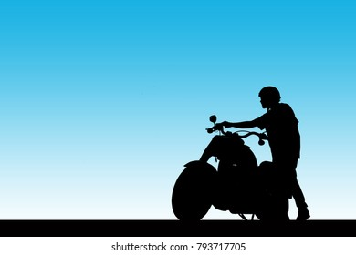 Silhouette man and motorcycle on sky background.